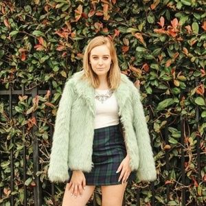 Mint Faux Fur Jacket